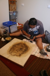 Theresa painting on echidna shroud